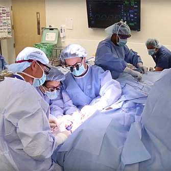 A view of surgeons in the operating room.