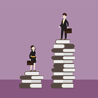 An illustration of a businessman standing on a stack of the book higher than a businesswoman on a shorter stack.
