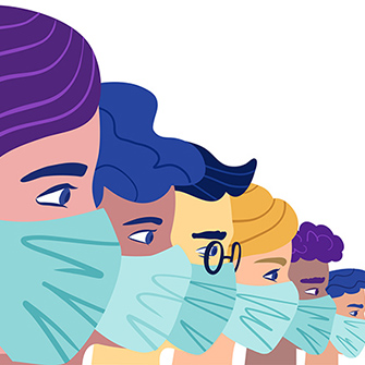 An illustration of medical professionals wearing masks.