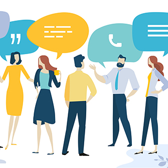 An illustration of business people standing in a group with colorful speech bubbles above their heads.