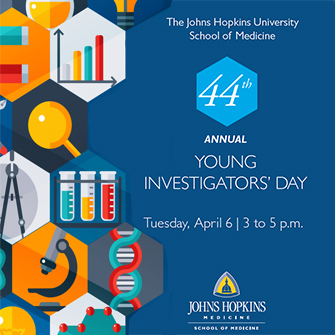 Text announcing Young Investigator's Day on a blue background, bordered by icons depicting scientific themes.