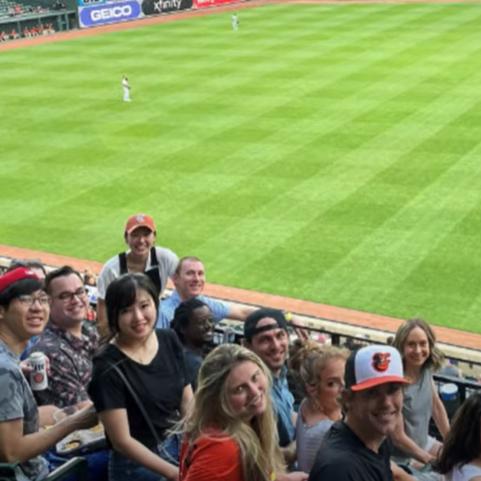Residents at a baseball game