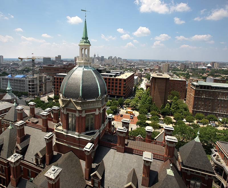 An aerial view of the Dome and the East Baltimore campus.