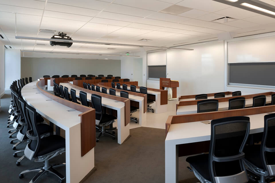 The case study room provides a more intimate location for activities in which the lecture halls are too large.