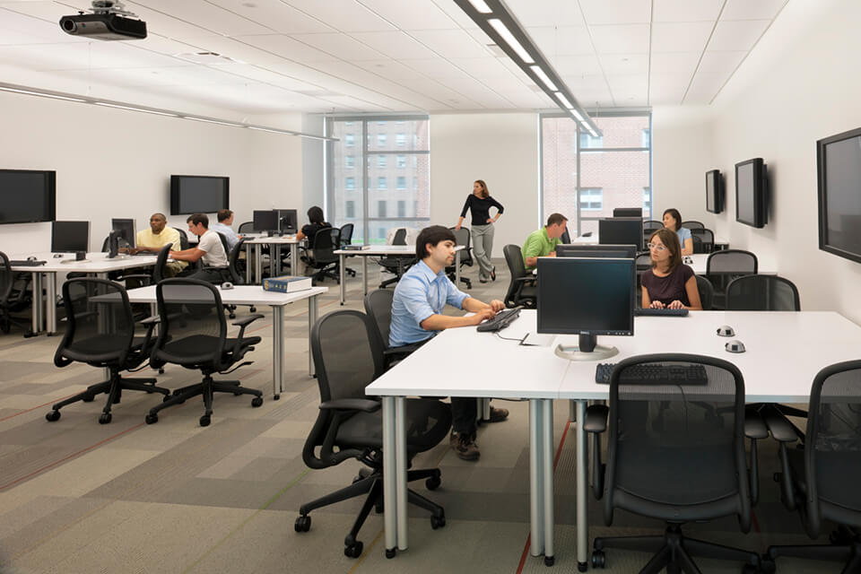 The flat-floor learning studio was designed for team learning activities, including team-based learning and problem-based learning.
