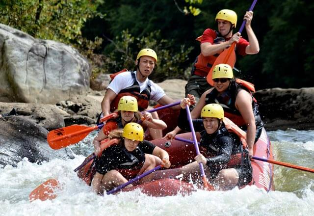 students on a raft