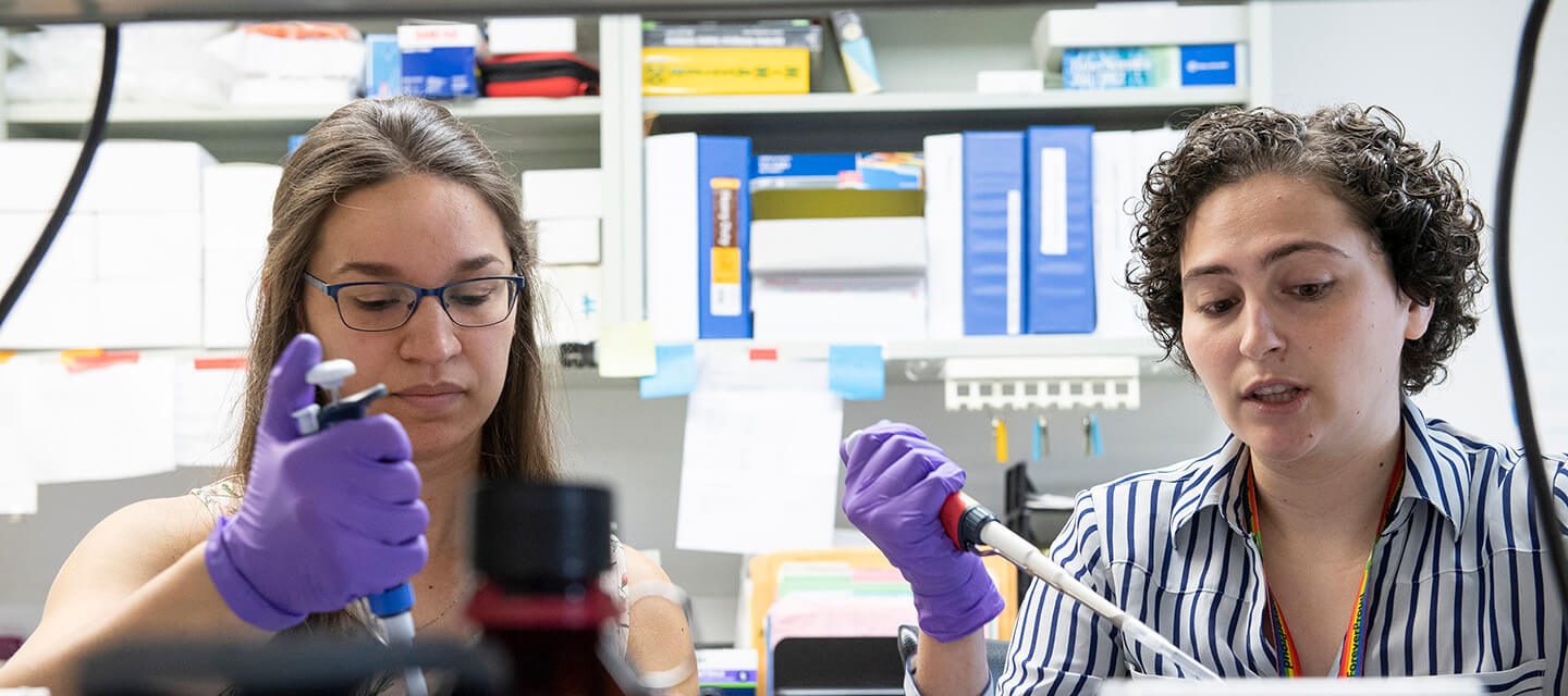 Graduate students work in the lab.