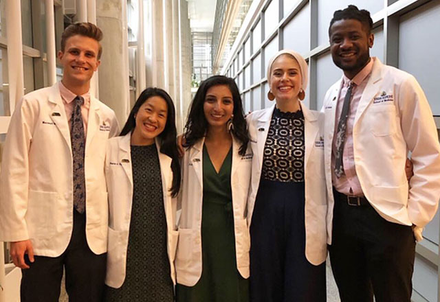 Medical students stand together