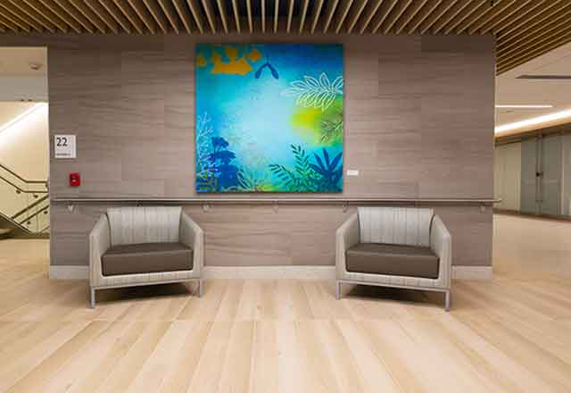 Artwork by Susan Danko called Blue Botanical. Image shows blue and green painting consisting of tropical foliage.
