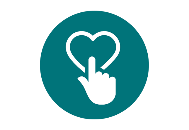 hand clicking heart icon
