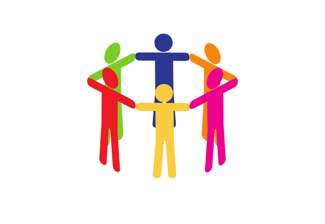 group of people holding hands graphic icon
