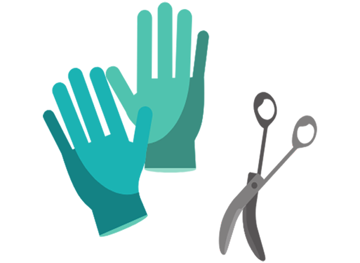 surgical gloves and scissors graphic icon