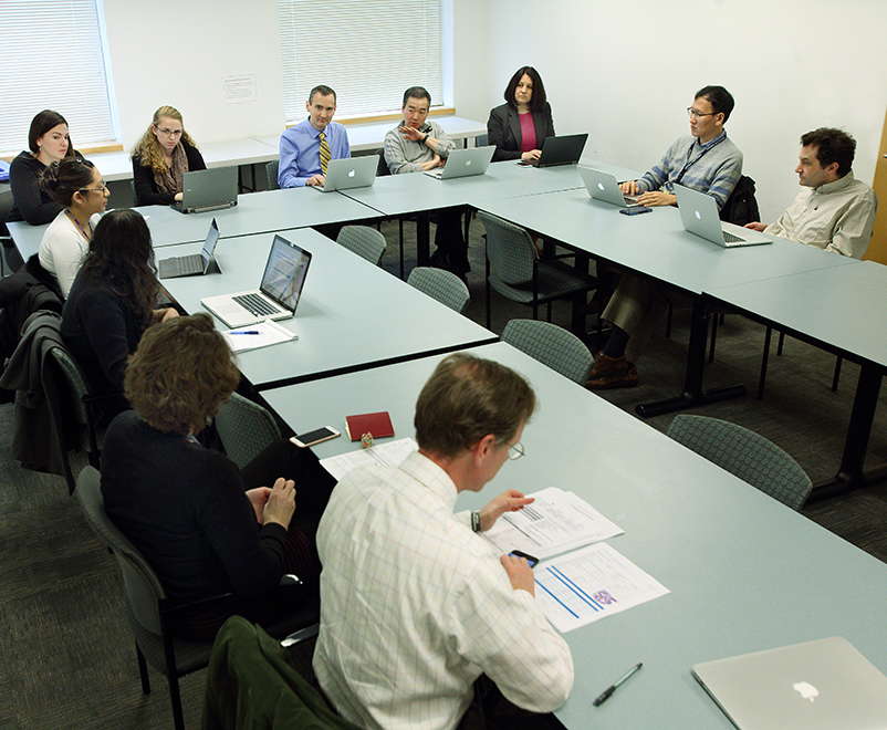 Tumor board meeting with medical experts