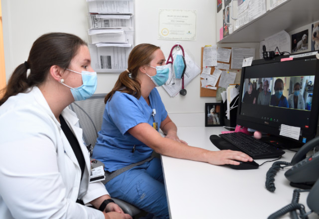 doctor and nurse performing a telemedicine visit.