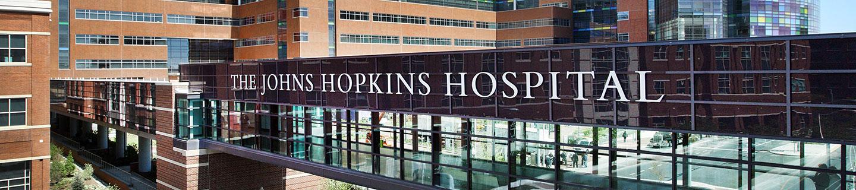 The pedestrian bridge outside of The Johns Hopkins Hospital