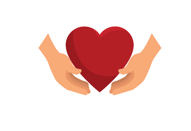 hands holding heart icon graphic