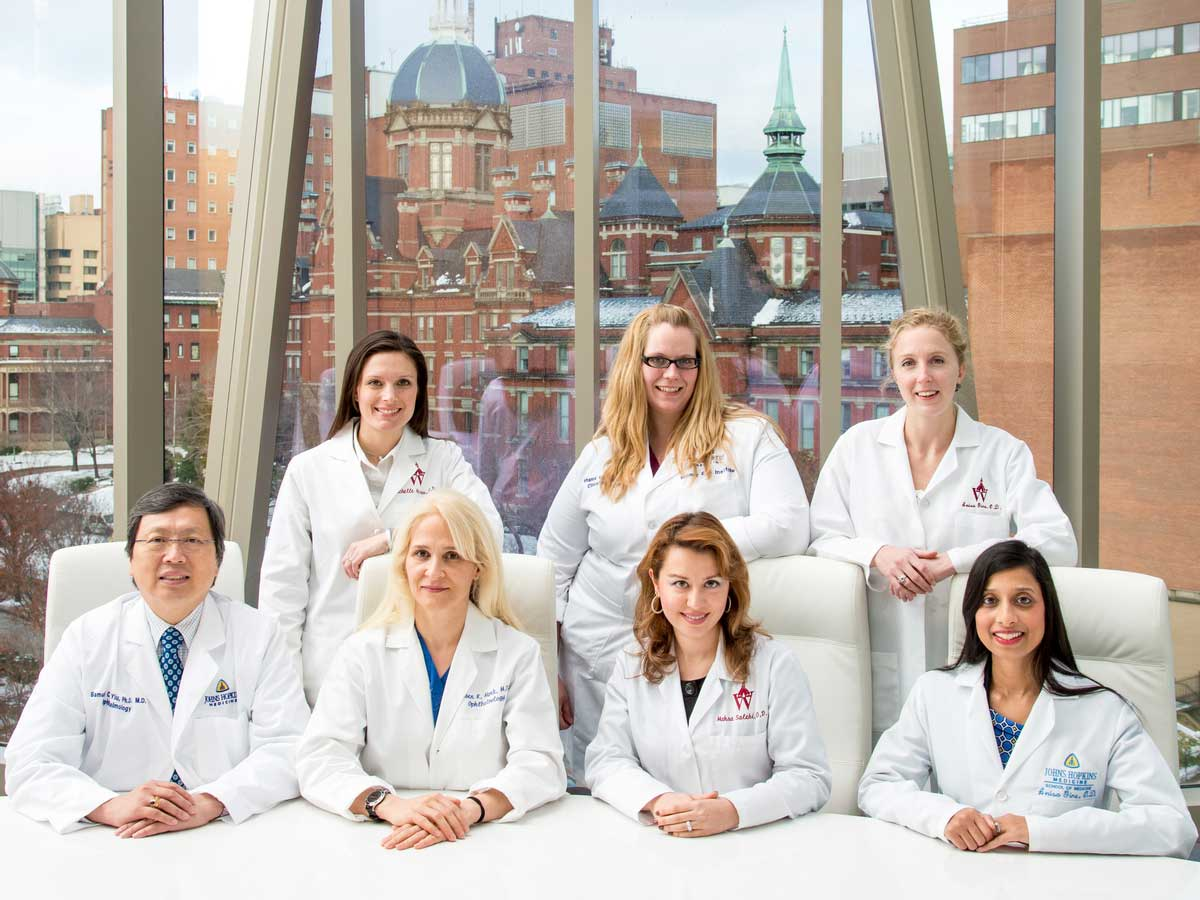 The Wilmer Dry Eye team shown in front of the Johns Hopkins Hospital