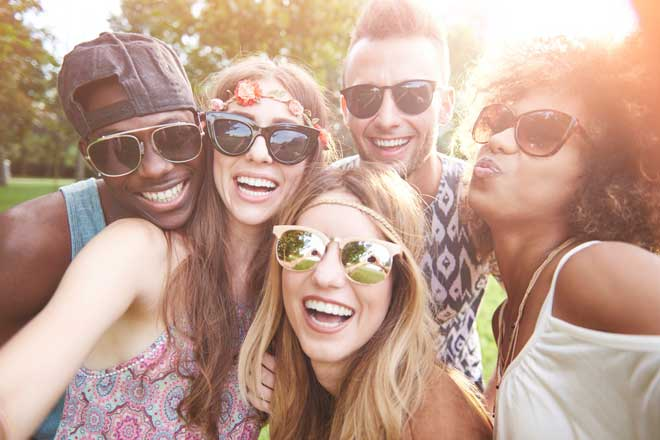 a group of friends wearing sunglasses