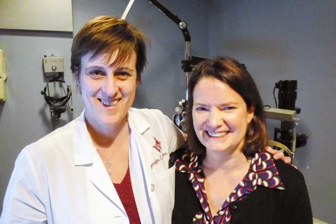 Meredith Cross and Dr. Jennifer Thorne of Wilmer Eye Institute