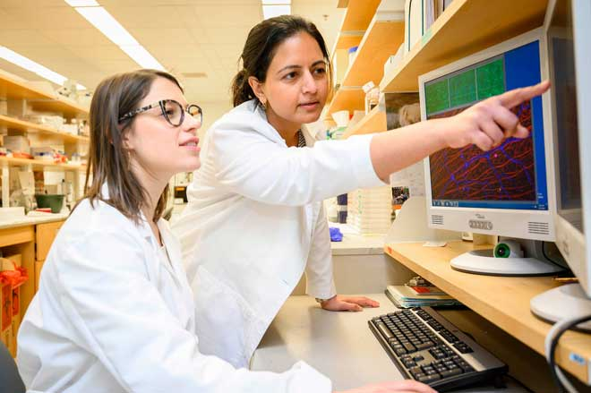 dr. mira sachdeva looks at computer with lab tech