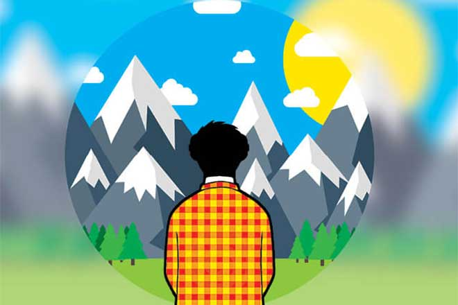 illustration of person lookin at mountains