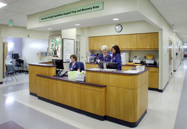 The reception area at the Wilmer Eye Institute